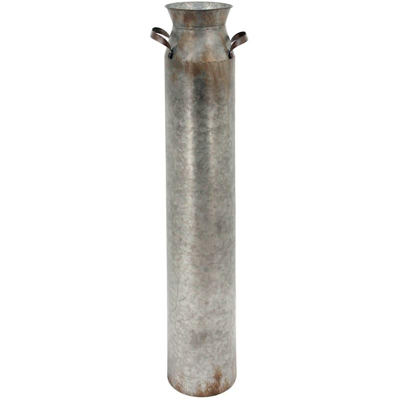 36in. Metal Galvanized Vase