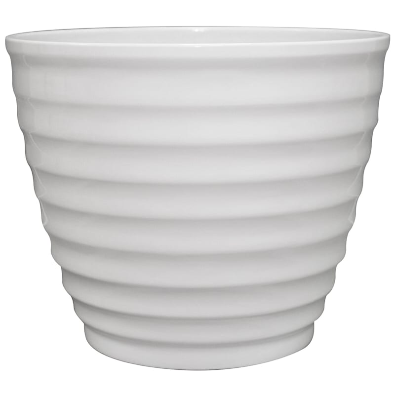 14in. Resin Beehive Pot White