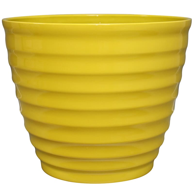14in. Resin Round Beehive Pot Yellow
