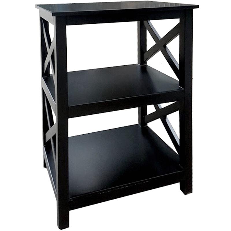 Three Tier X-Side Table Black
