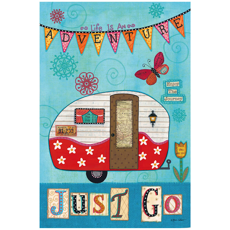 Adventure Just Go Retro Rv Garden Flag