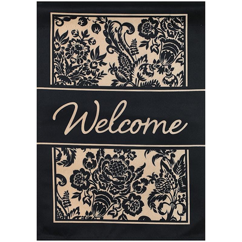 Welcome Black Pattern Garden Flag