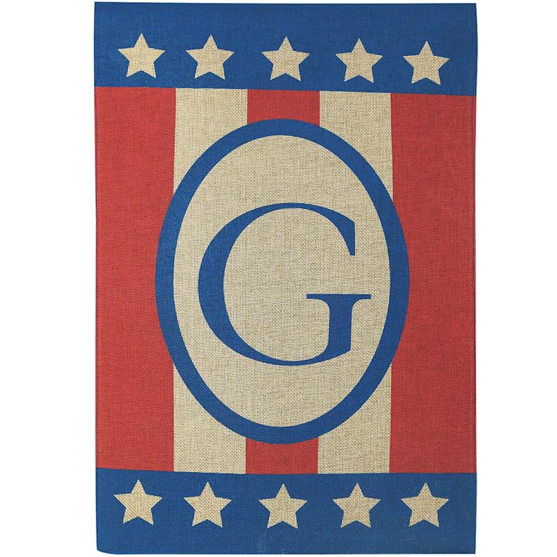 G Burlap Monogram Patriotic