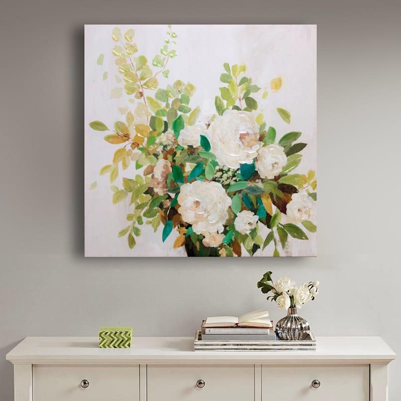 35X35 White Roses Embellished Canvas Art