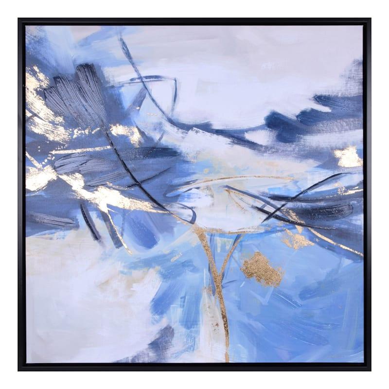 37X37 Blue Landscape Abstract Embellished Canvas Art