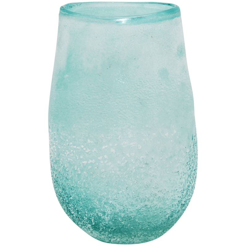 9.5in. Frosted Blue Glass Vase