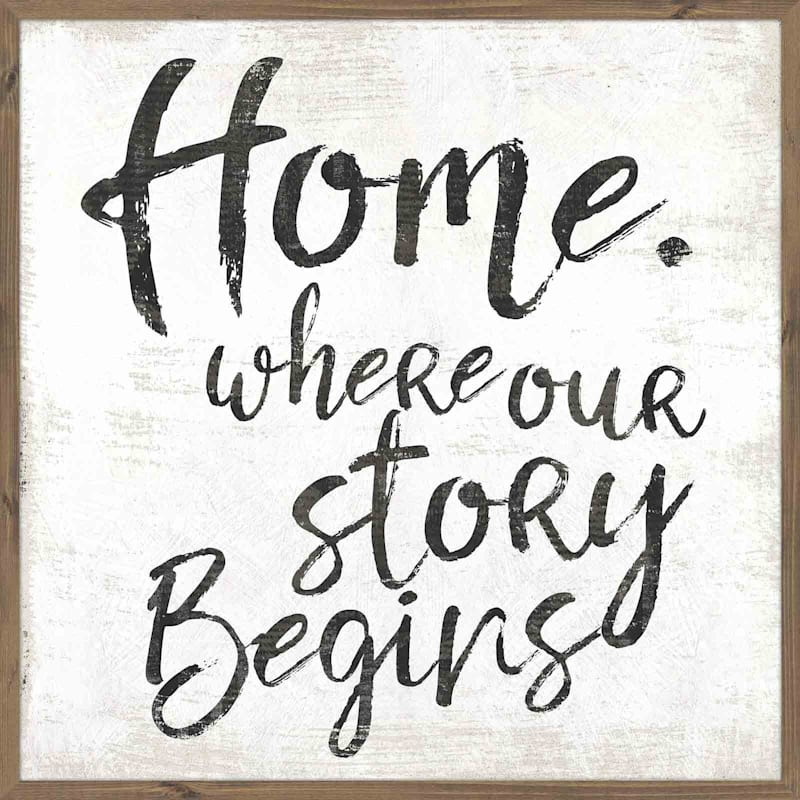 36X36 Home Where Our Story Begins Textured Art In Wood Frame