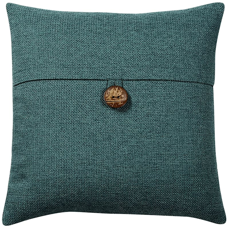 Clayton Teal Feather Filled Coconut Button Pillow 20X20