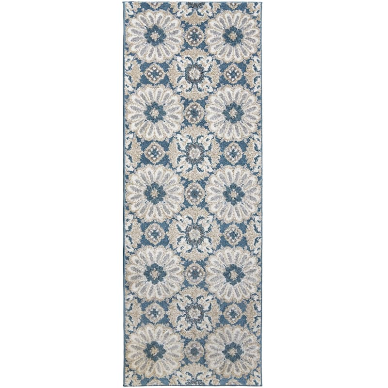 (B513) Camille Blue Floral Runner, 2x6