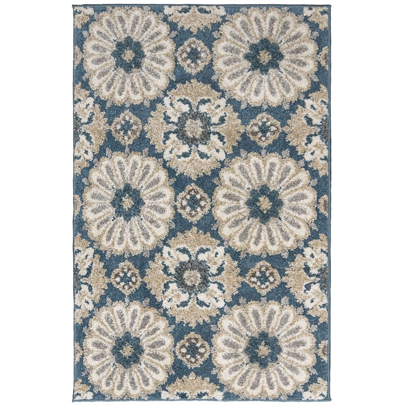 (B513) Camille Blue Floral Accent Rug 3X4