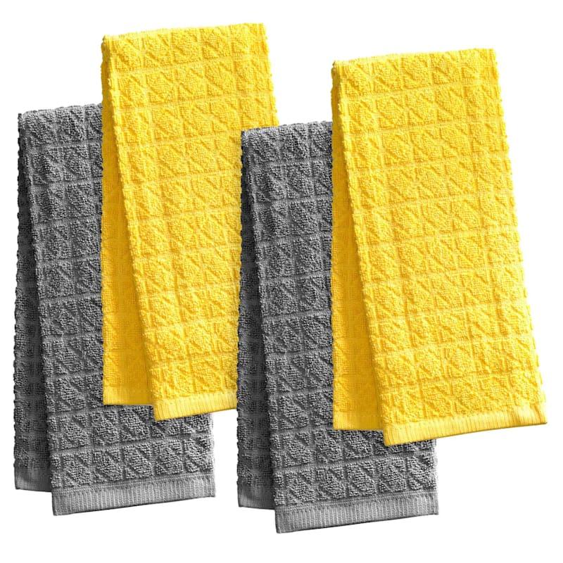 4-Piece Yellow/Grey Kitchen Towel