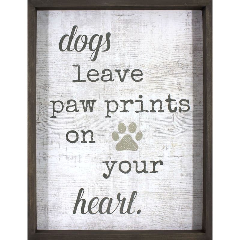 12X16 Dogs Leave Pawprints On Your Heart Textured Art