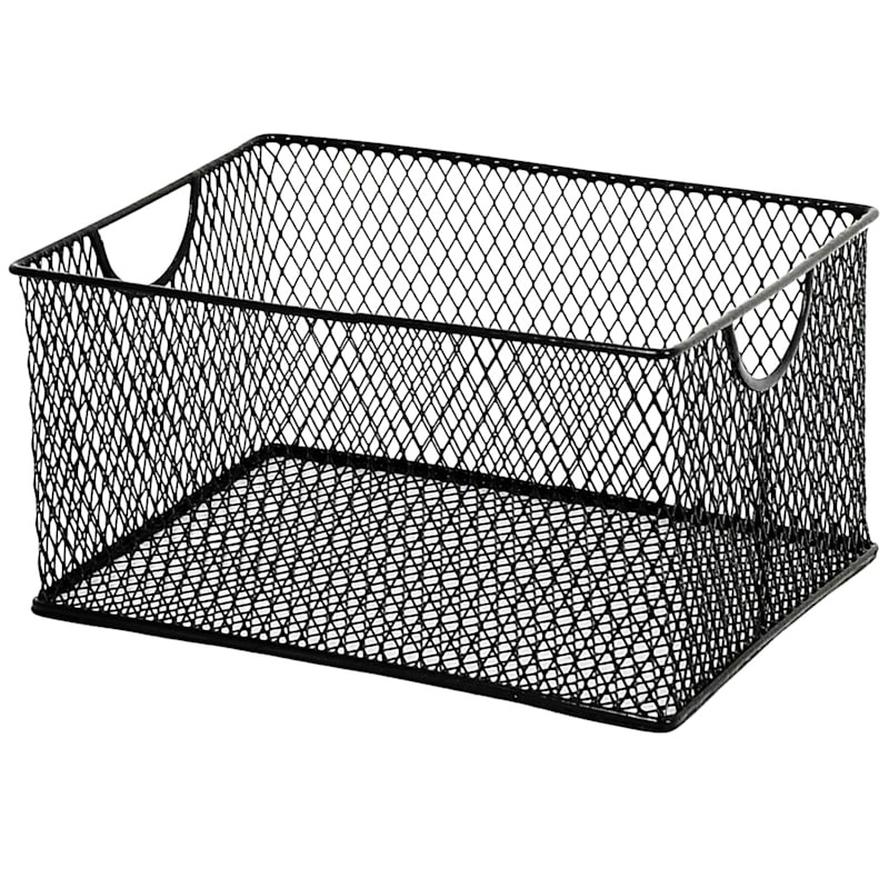 MD Black Metal Mesh Rectangle Ofc Storage
