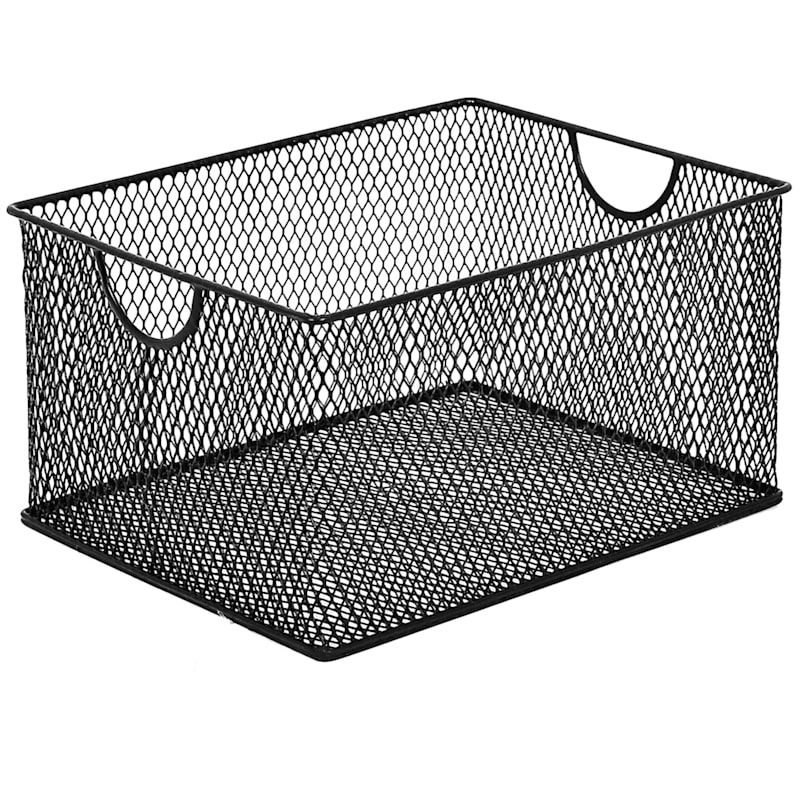 Large Black Metal Mesh Rectangle Ofc Storage