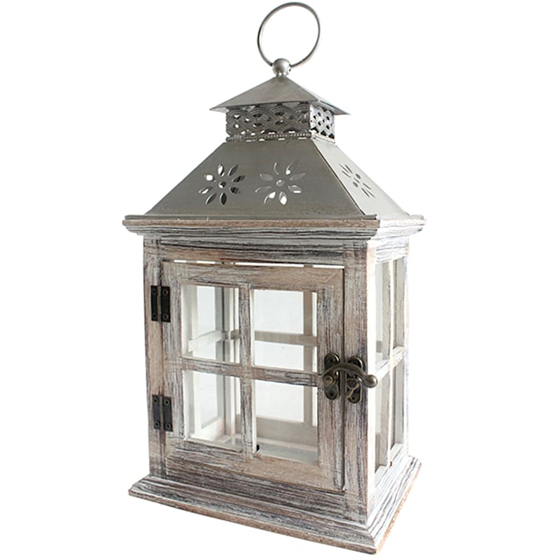 12in. Iron Wooden Lantern