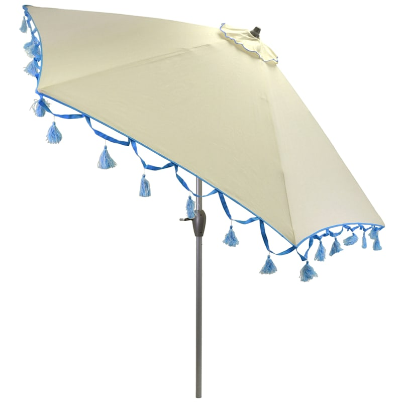 9' Crank & Tilt Umbrella, Natural White with Decorative Tassels