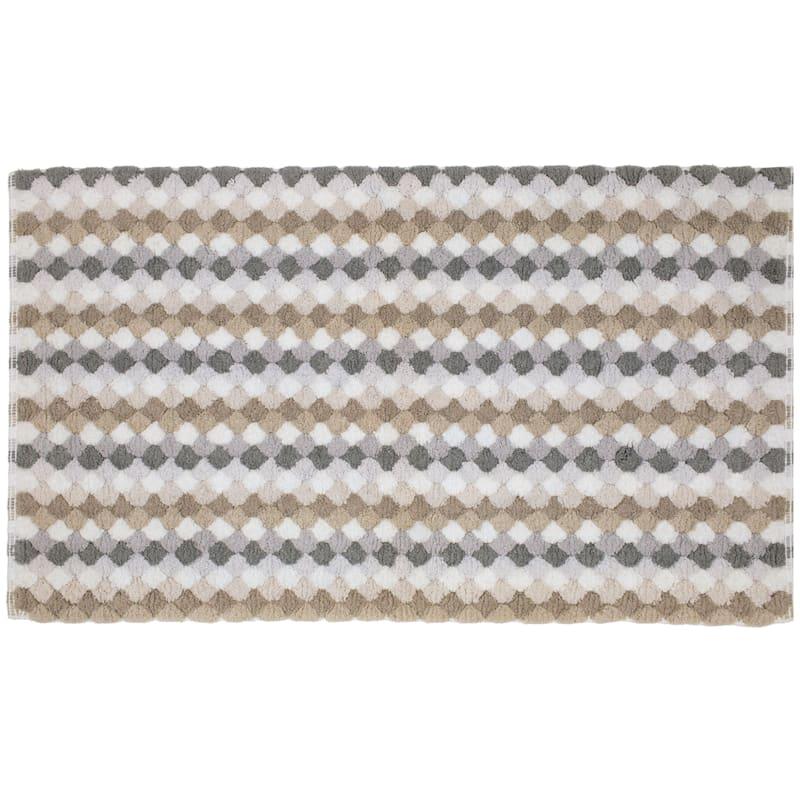 Multi Grey/Taupes Tuffets Absorbant Cotton Bath Rug 20X34