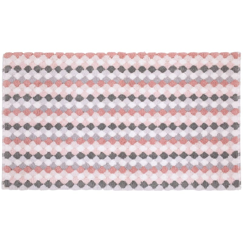 Multi Blush/Greys Tuffets Absorbant Cotton Bath Rug 20X34