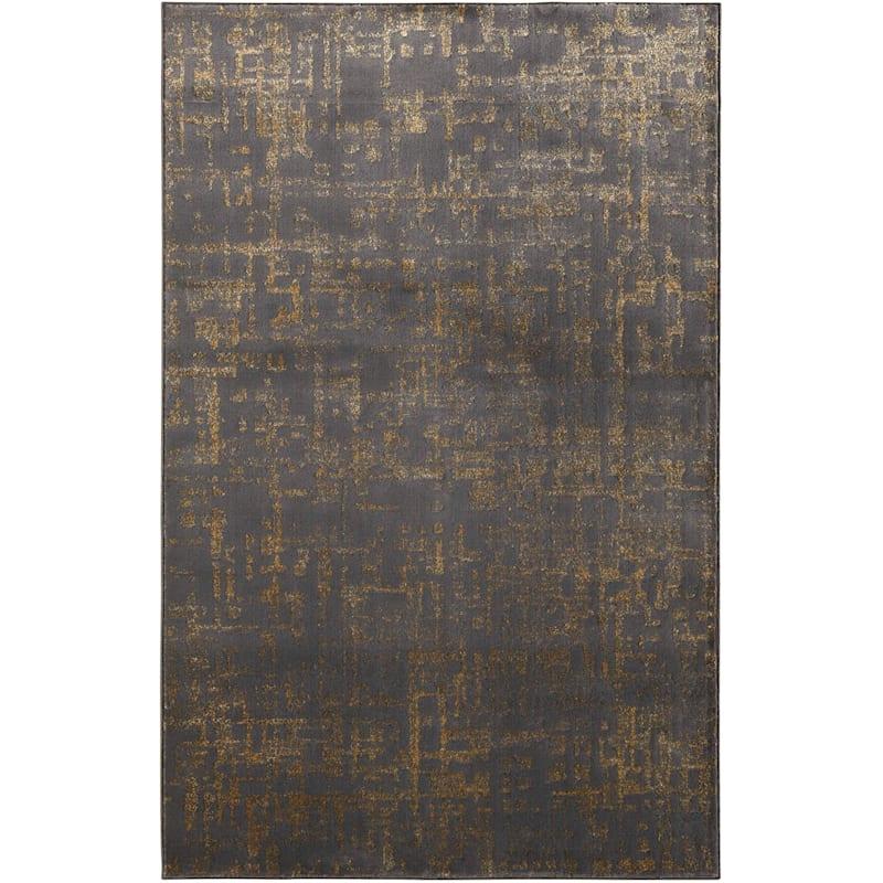 (B515) Gracie Grey Woven Area Rug, 5x7