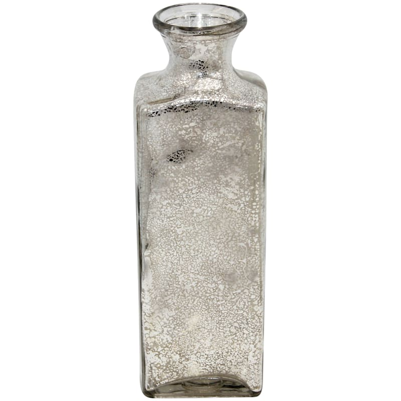 12in. Silver Distressed Glass Bottle Vase