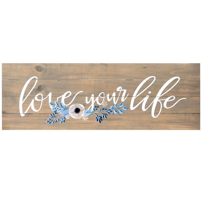 36X12 Love Your Life Wood Wall Art