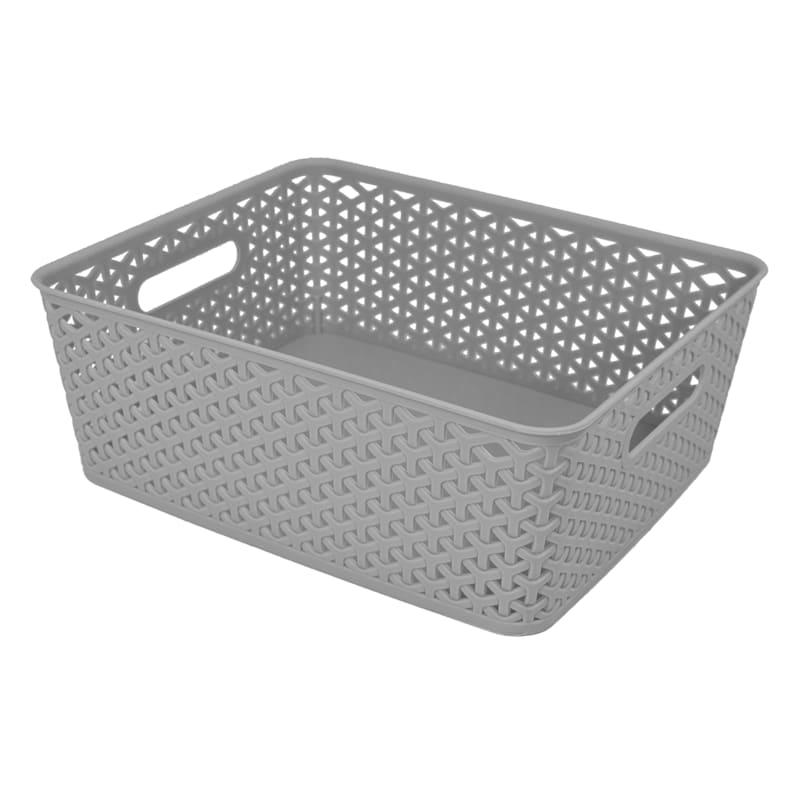 13.75X11 Weave Basket Light Grey