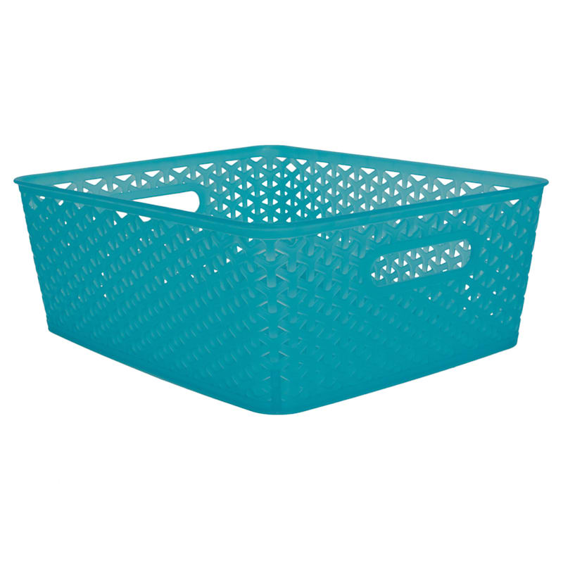 13.75X11 Weave Basket Turquoise