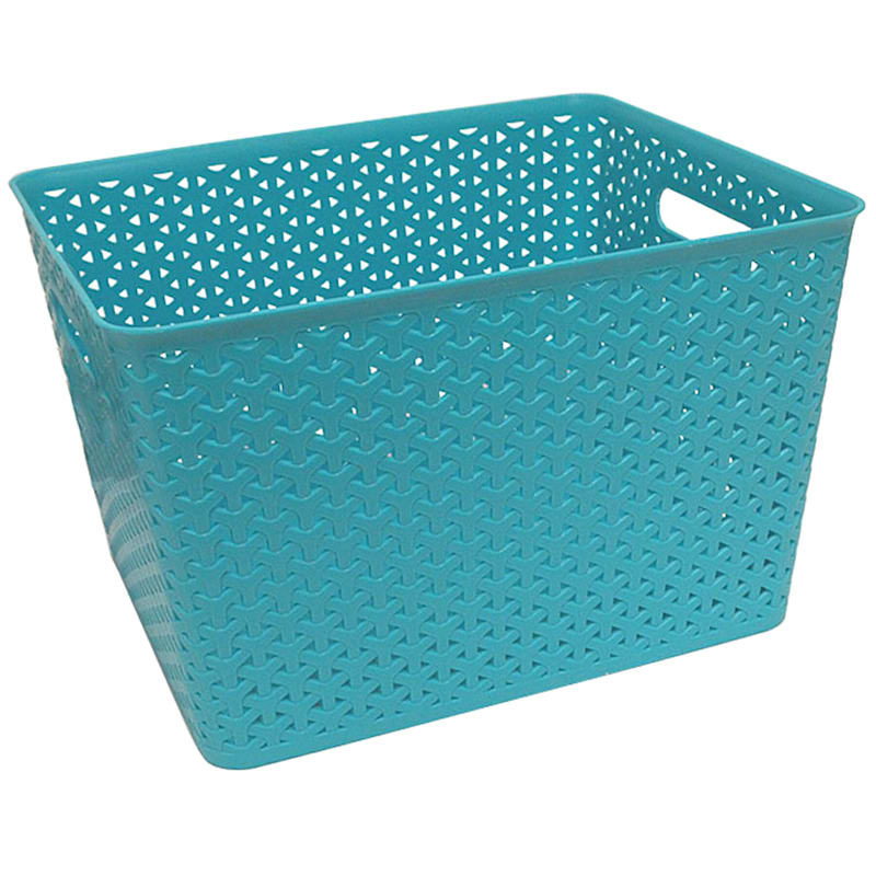 13.75X11X9 Weave Bin Turquoise