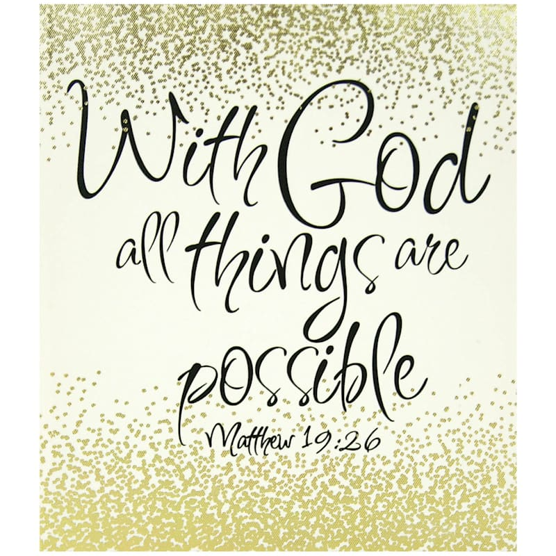 10X12 Gold With God All Things Are Possible Textured Canvas Art