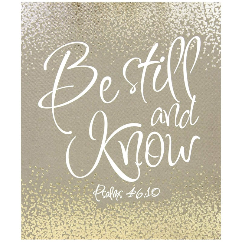 10X12 Gold Be Still And Know Textured Canvas Art
