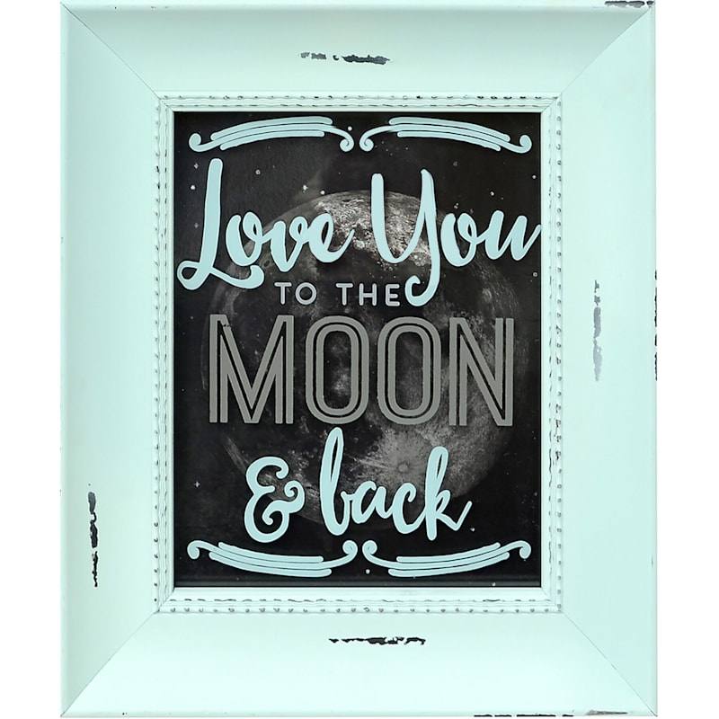 8X10 Blue Love You To The Moon And Back Framed Art Under Glass