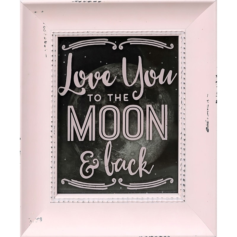 8X10 Pink Love You To The Moon And Back Framed Art Under Glass