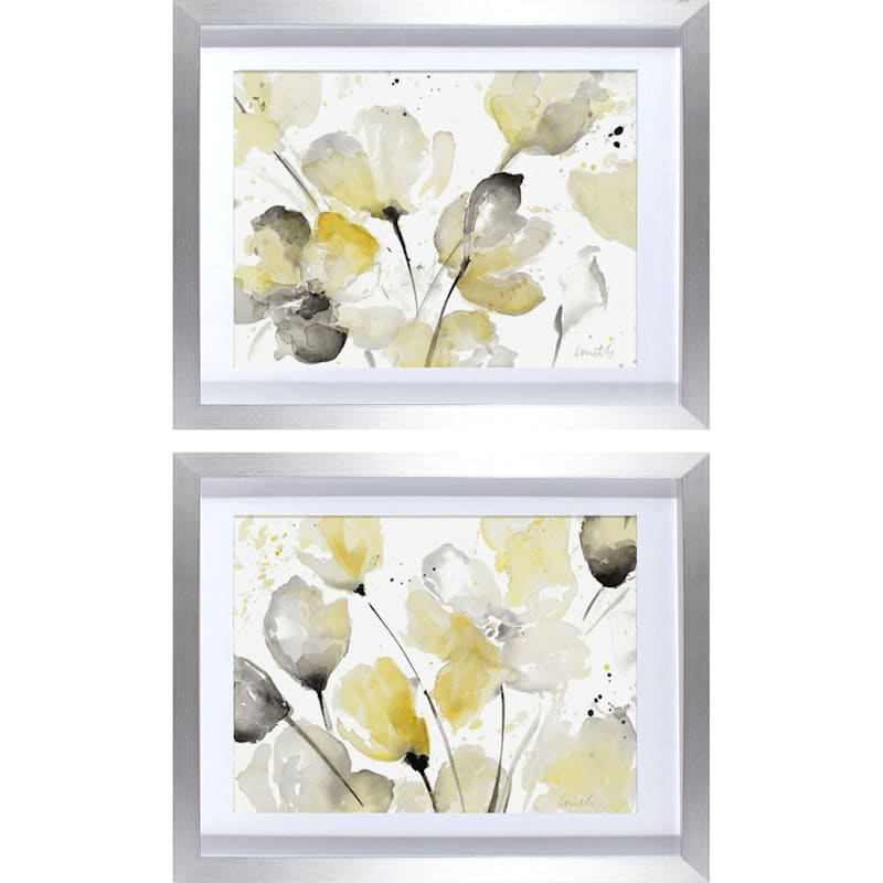 15X19 Neutral Abstract Floral Framed Matted Under Glass 2-Pc Set