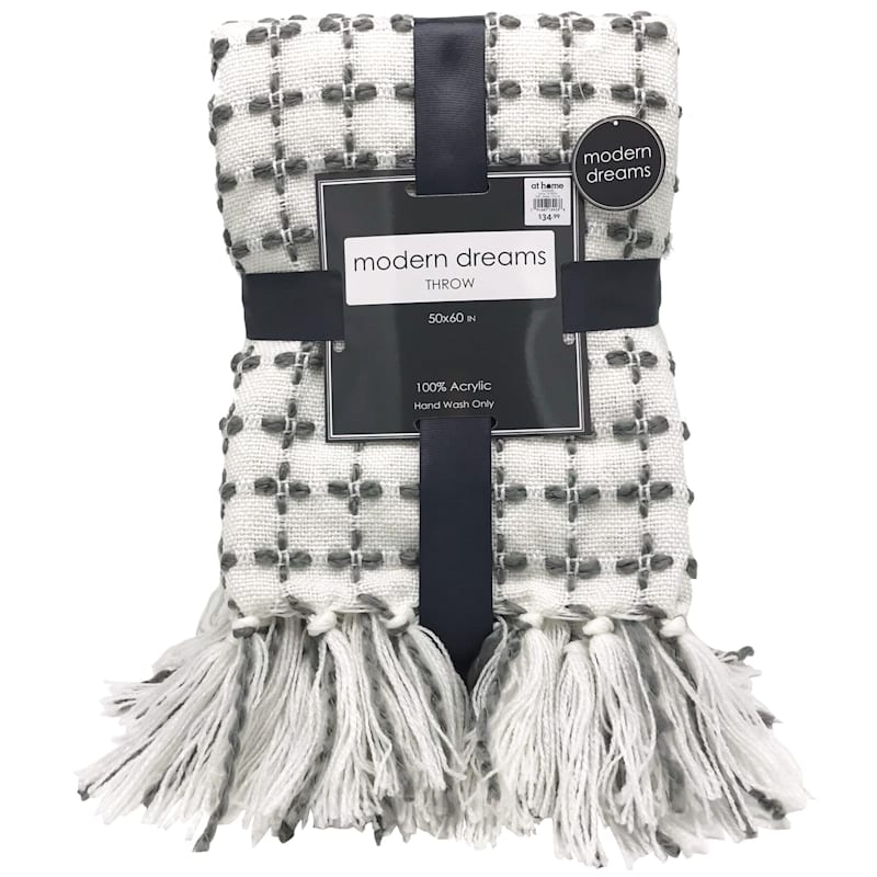 Grey Cross With Tassel Throw
