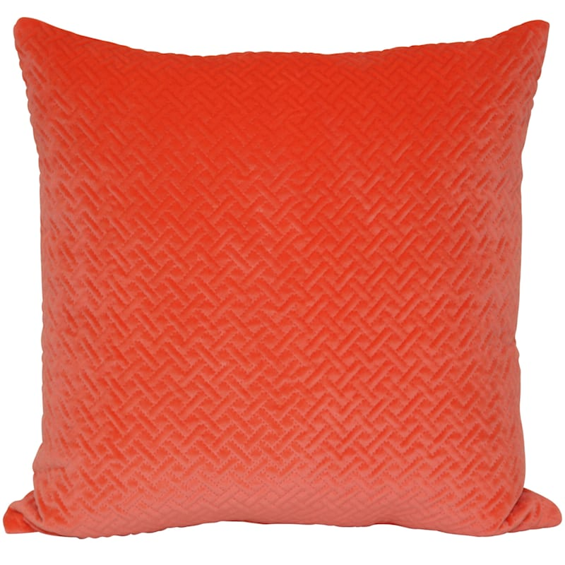 Wicker Park Tangerine Pinsonic Plush Pillow 18X18