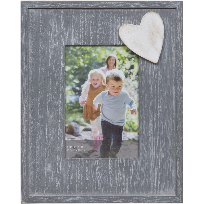 4X6 Distressed Grey Flat Profile Tabletop Photo Frame With Heart Accent