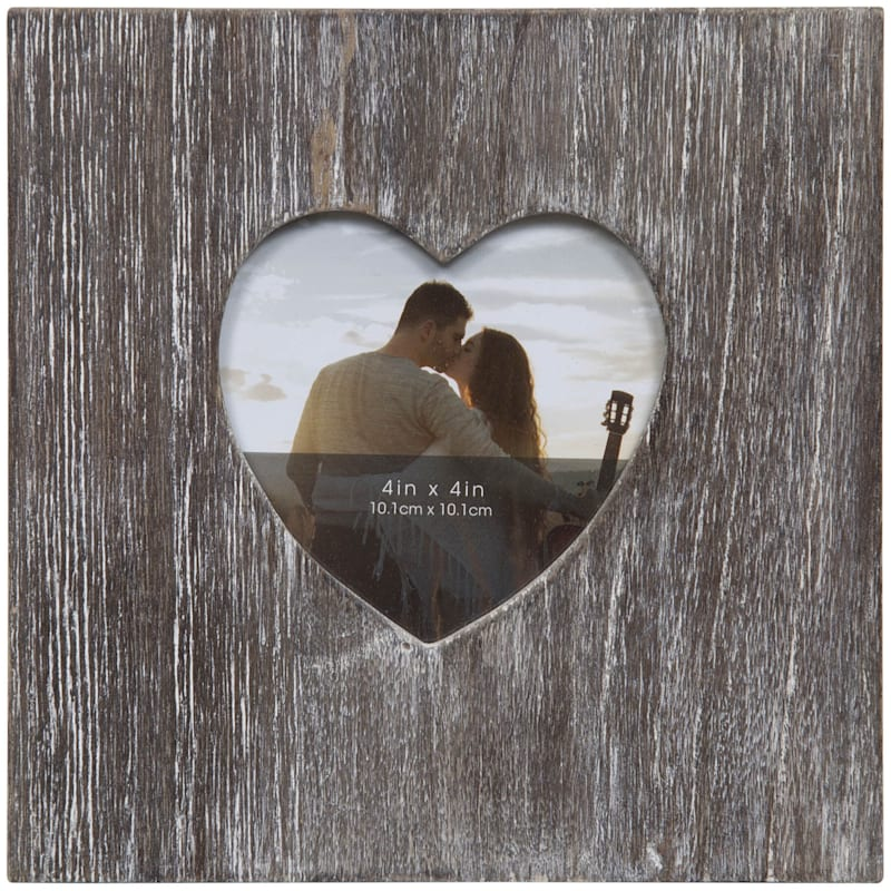 4X4 Rustic Barnwood Heart Opening Tabletop Photo Frame