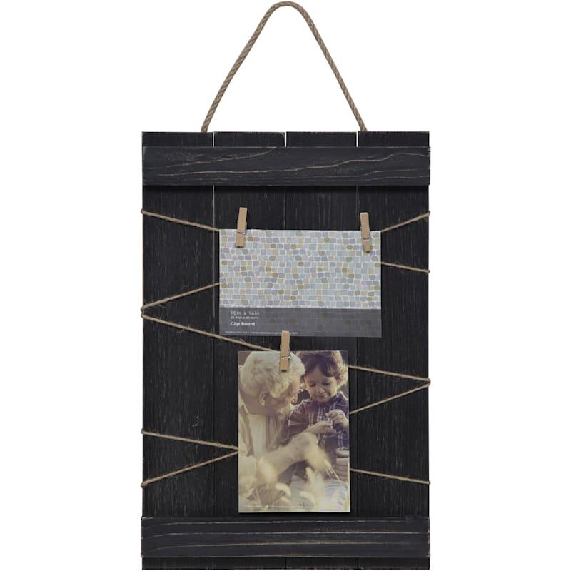 10X16 Blackwash Hanging Plank Clothespin Collage Frame