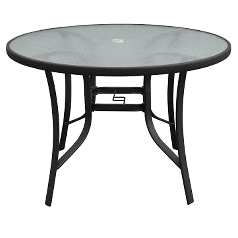 """Steel 42"""" Water Wave Tempered Glass Top Dining Table, Black"""