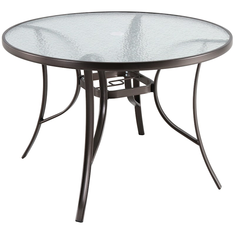 """Steel 42"""" Water Wave Tempered Glass Top Dining Table, Brown"""