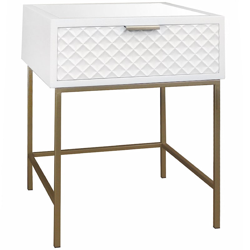 White Kelcie Dia Front 1-Drawer