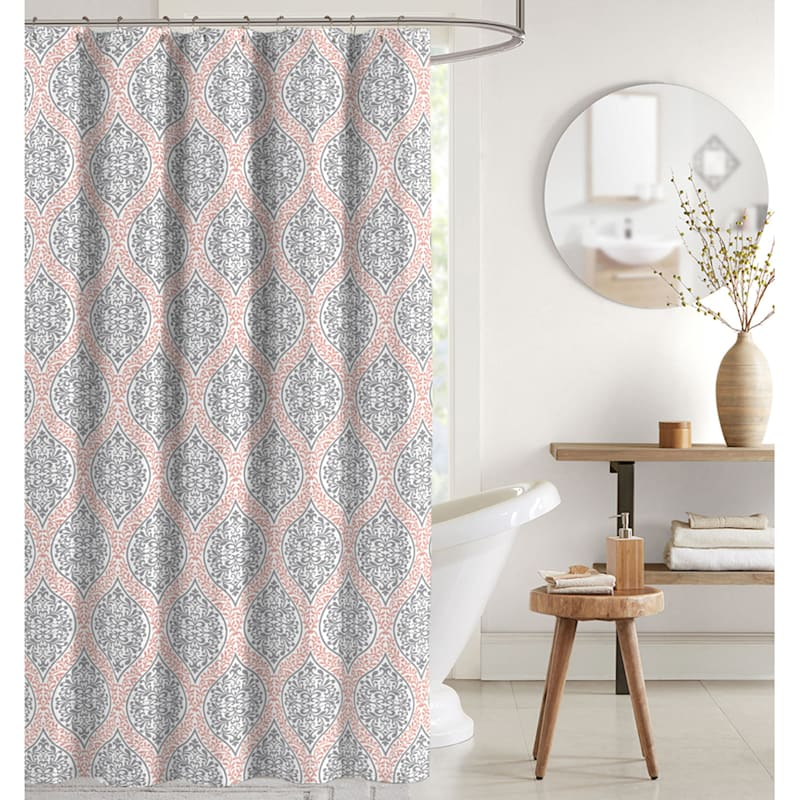Joanna Coral 13-Piece Printed Shower Curtain With Hooks Set