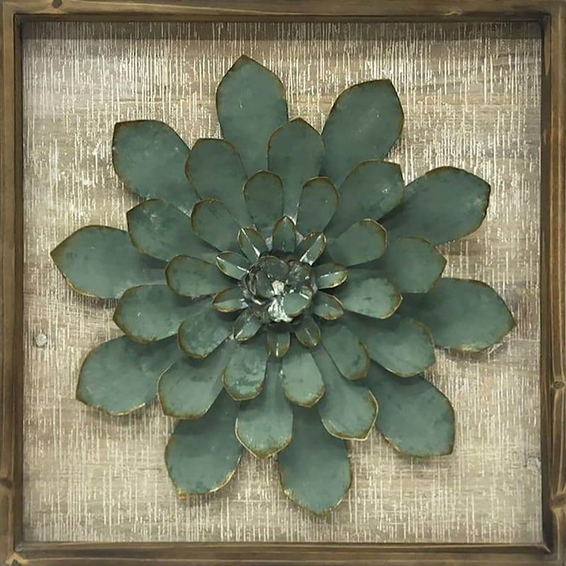 16X16 Metal Flower Framed Wood Plaque