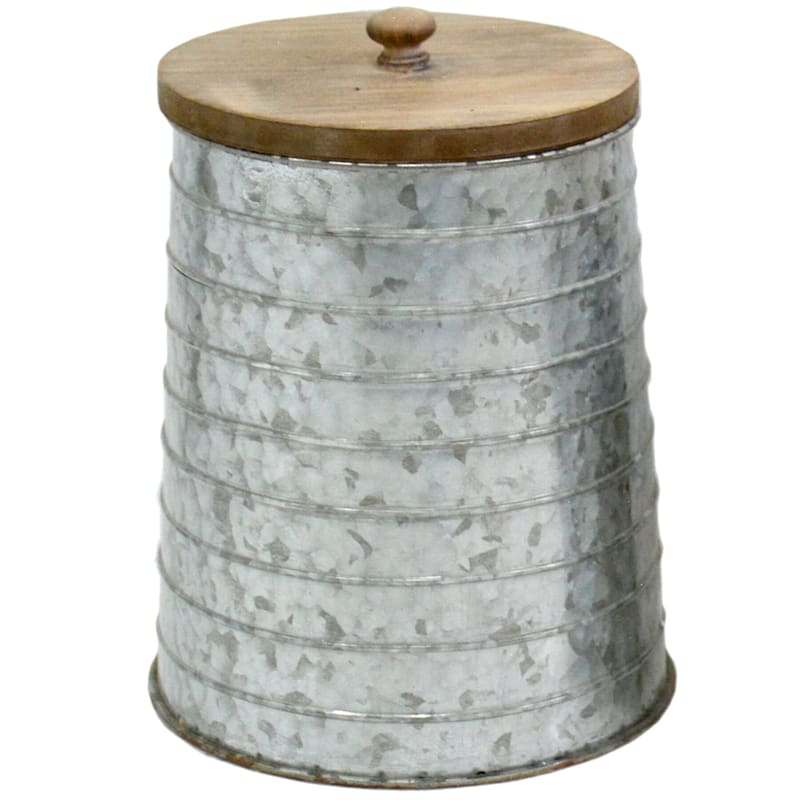8X11 Metal Canister With Wood Lid