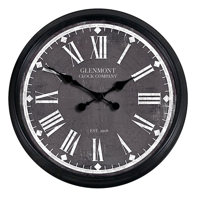 30X30 Black Frame Clock With Grey Distressed Face Paper