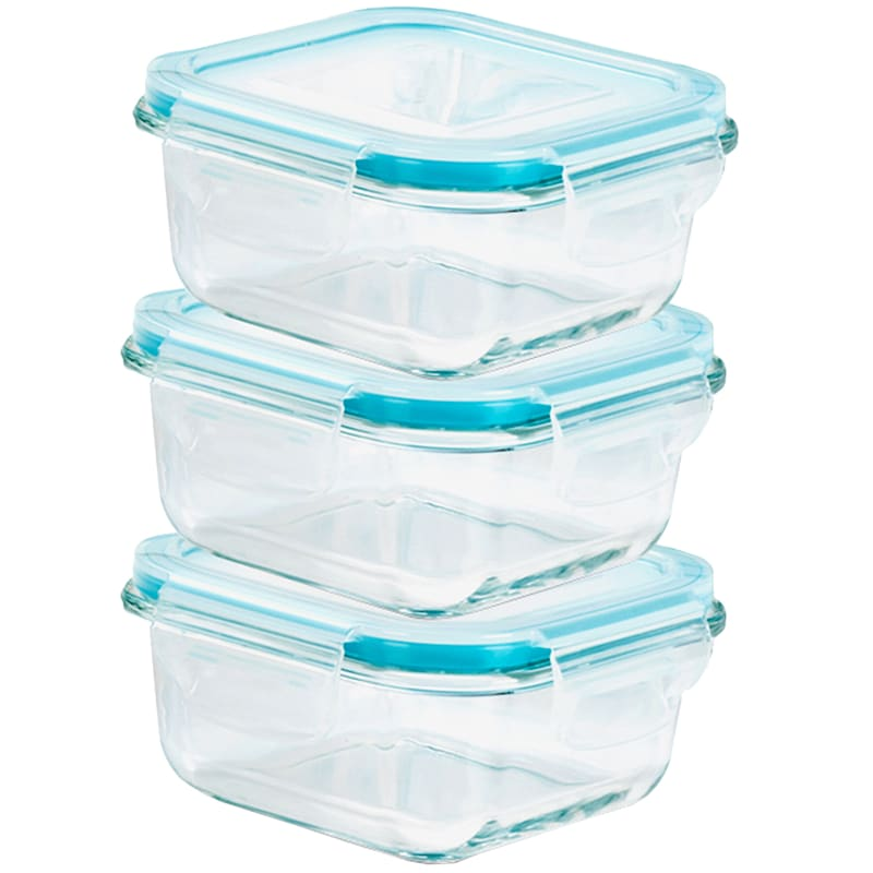 6-Piece 340ml Square Glass Food Storage Set/Locking Lids