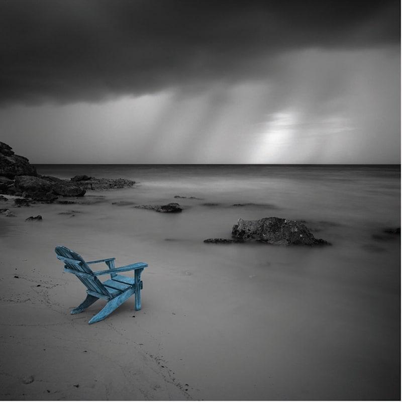 8X8 Black Faux Wood Beach Chair Sign