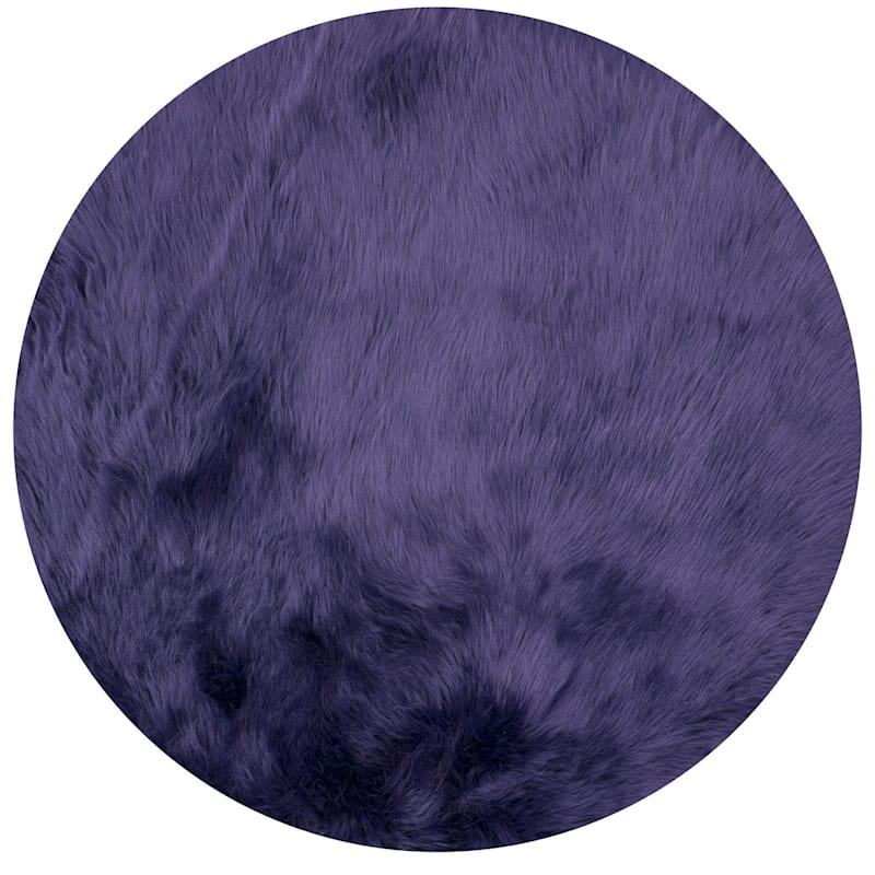 Ultraviolet Faux Fur Rug, 3' Round