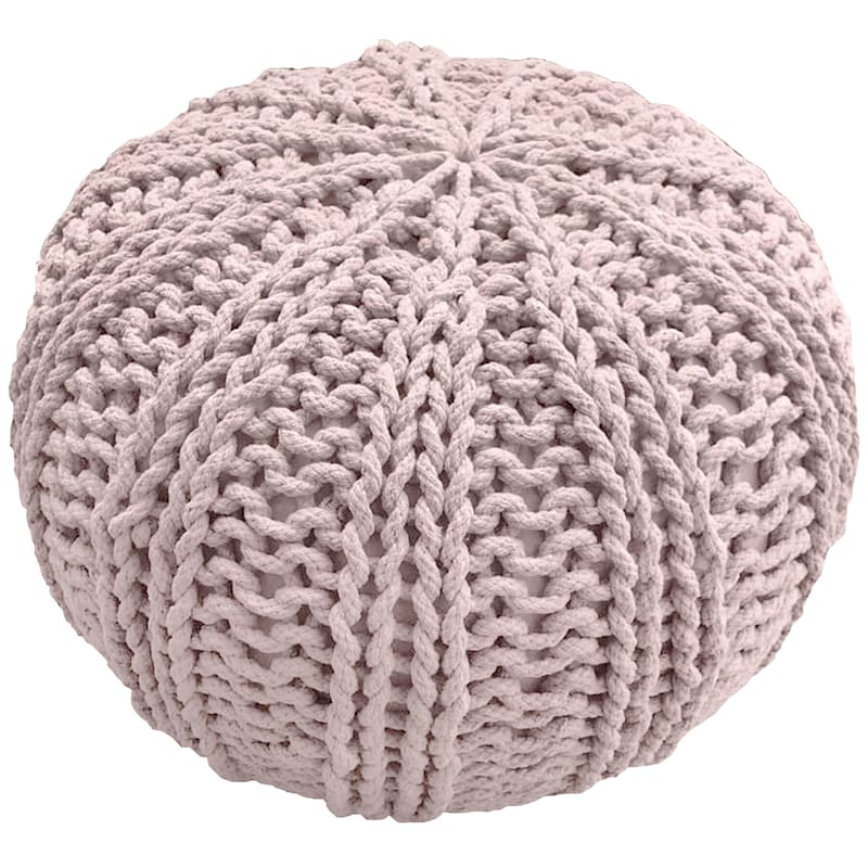 Peach Hand Knit Pouf