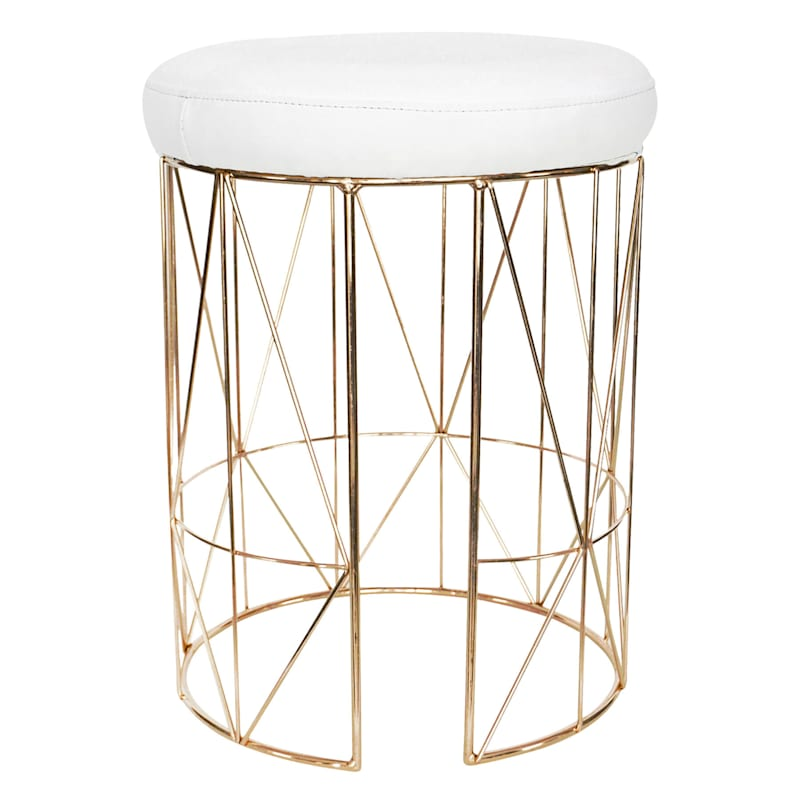 Keira Glazed Gold Wire Vanity Stool/Padded White Faux Leather Seat